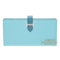 Hermes Bearn Soufflet Bi-color Blue atoll/ Blue petrole Tadelakt leather/ Lizard skin Silver hardware