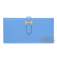 Hermes Bearn Soufflet Blue paradise Epsom leather Gold hardware