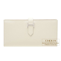 Hermes Bearn Soufflet Craie Epsom leather Silver hardware