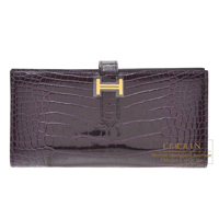Hermes Bearn Soufflet Aubergine Alligator crocodile skin Gold hardware