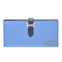 Hermes Bearn Soufflet Bi-color Blue paradise/Blue saphir Epsom leather Silver hardware
