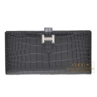 Hermes Bearn bi-fold wallet Black Matt alligator crocodile skin Silver hardware