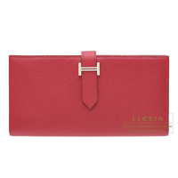 Hermes Bearn Soufflet Ruby Epsom leather Silver hardware