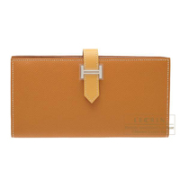 Hermes Bearn Soufflet Bi-color Caramel/Paille Epsom leather/ Tadelakt leather Silver hardware