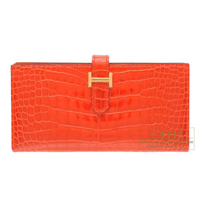 Hermes Bearn Soufflet Orange poppy Alligator crocodile skin Gold hardware