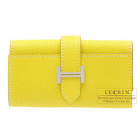 Hermes Bearn key case/4 key holder Lime Chevre myzore goatskin Silver hardware
