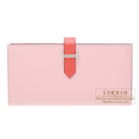 Hermes Bearn Soufflet Bi-color Rose sakura/ Bougainvillier Tadelakt leather/ Lizard skin Silver hardware