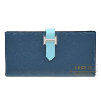 Hermes Bearn Soufflet Bi-color Colvert/ Blue atoll Epsom leather/ Tadelakt leather Silver hardware