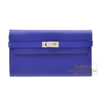 Hermes Kelly wallet long Blue electric Epsom leather Silver hardware