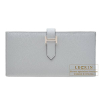 Hermes Bearn Soufflet Blue glacier Epsom leather Silver hardware