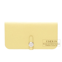 Hermes Dogon Long Jaune poussin Togo leather Silver hardware