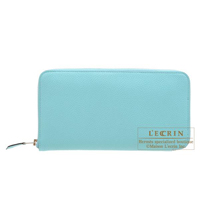 Hermes Azap long Blue atoll Togo leather Silver hardware