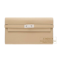 Hermes Kelly wallet long Trench Epsom leather Silver hardware