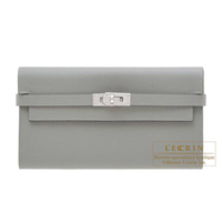 Hermes Kelly wallet long Gris mouette Epsom leather Silver hardware