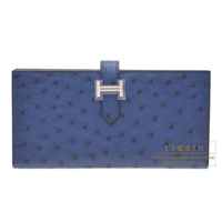 Hermes Bearn Soufflet Blue de malte Ostrich leather Silver hardware