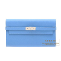 Hermes Kelly wallet long Blue paradise Epsom leather Silver hardware