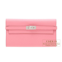 Hermes Kelly wallet long Rose confetti Epsom leather Silver hardware