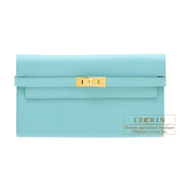 Hermes Kelly wallet long Blue atoll Epsom leather Gold hardware