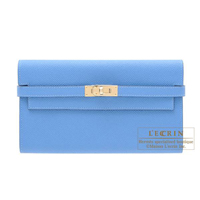 Hermes Kelly wallet long Blue paradise Epsom leather Champagne gold hardware