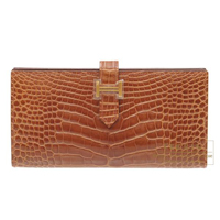 Hermes Bearn Soufflet Miel Alligator crocodile skin Gold hardware