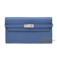 Hermes Kelly wallet long Blue agate Epsom leather Silver hardware