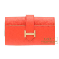 Hermes Bearn key case/4 key holder Rose jaipur Epsom leather Champagne gold hardware