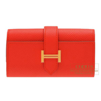 Hermes Bearn key case/4 key holder Rouge tomate Epsom leather Gold hardware