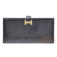Hermes Bearn Soufflet Blue marine Alligator crocodile skin Gold hardware