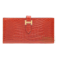 Hermes Bearn Soufflet Sanguine Alligator crocodile skin Gold hardware
