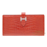 Hermes Bearn Soufflet Sanguine Alligator crocodile skin Silver  hardware