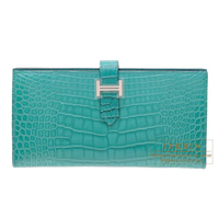 Hermes Bearn Soufflet Blue paon Matt alligator crocodile skin Silver hardware