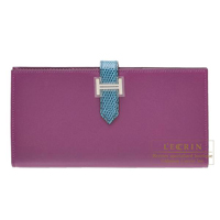 Hermes Bearn Soufflet Bi-color Violet/ Blue petrole Tadelakt leather/ Lizard skin Silver hardware