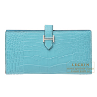 Hermes Bearn Soufflet Blue Saint-Cyr Matt alligator crocodile skin Silver hardware