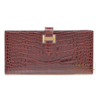 Hermes Bearn Soufflet Bourgogne Alligator crocodile skin Gold hardware