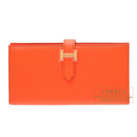 Hermes Bearn Soufflet Orange poppy Epsom leather Gold hardware