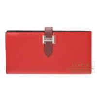 Hermes Bearn Soufflet Bi-color Rouge casaque/Rouge H Epsom leather Silver hardware