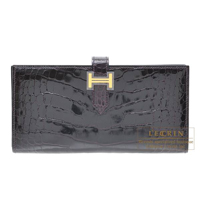 Hermes Bearn Soufflet Prunoir Alligator crocodile skin Gold hardware