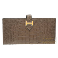 Hermes Bearn Soufflet Oregano Matt alligator crocodile skin Gold hardware
