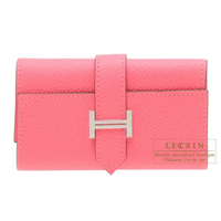 Hermes Bearn key case/4 key holder Rose azalee Epsom leather Silver hardware