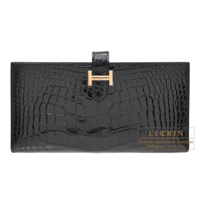 Hermes Bearn Soufflet Black Alligator crocodile skin Rose gold hardware