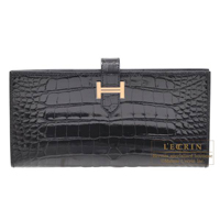 Hermes Bearn bi-fold wallet Black Alligator crocodile skin Rose gold hardware