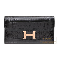 Hermes Constance long Black Alligator crocodile skin Rose gold hardware