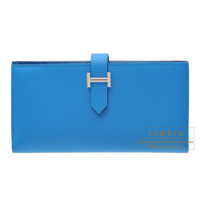 Hermes Bearn Soufflet Blue zanzibar Epsom leather Silver hardware