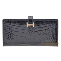 Hermes Bearn Soufflet Blue marine Alligator crocodile skin Rose gold hardware