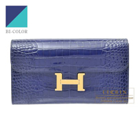Hermes Constance long Verso Blue saphir/ Blue paon Alligator crocodile skin Gold hardware