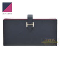 Hermes Bearn Soufflet Verso Blue indigo/Rose purple Epsom leather Silver hardware