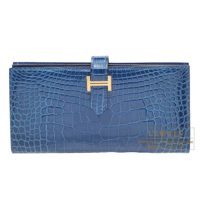 Hermes Bearn Soufflet Mykonos Alligator crocodile skin Gold hardware