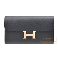 Hermes Constance long Black Epsom leather Rose gold hardware