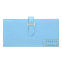 Hermes Bearn Soufflet Celeste Epsom leather Silver hardware