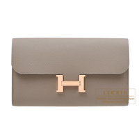 Hermes Constance long Gris asphalt Epsom leather Rose gold hardware